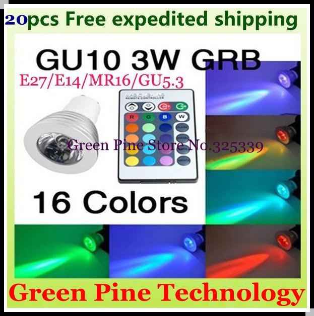 FedEX Free shipping 20x Cheaper 3W E27 MR16 GU10 E14 GU5.3 RGB LED Light Remote Control 16Colors RGB LED Lamp Bulb LED Lighting(China (Mainland))