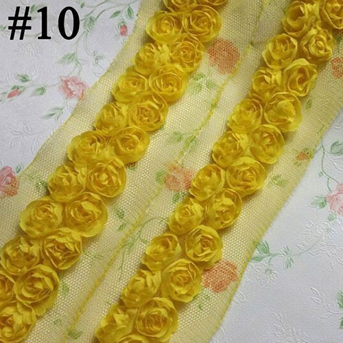 Shabby Chiffon Fabric Rose Flower Trim, 30MM Two Lines Chiffon Trim Rose Flower 10 Yards, Chiffon Lace For Sewing Accessories(China (Mainland))