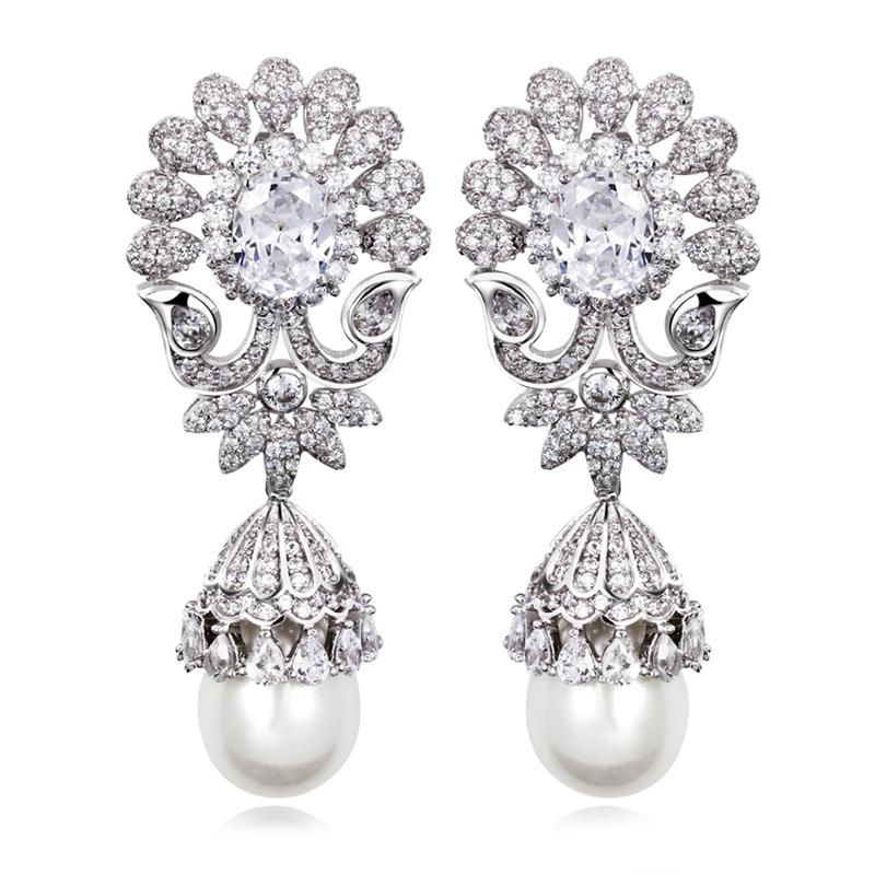 Classic Design Women drop earrings Synthetic Pearl AAA Quality Cubic Zirconia Earring Allergy Free Platinum Plated Big Earrings - Flowers rong's store