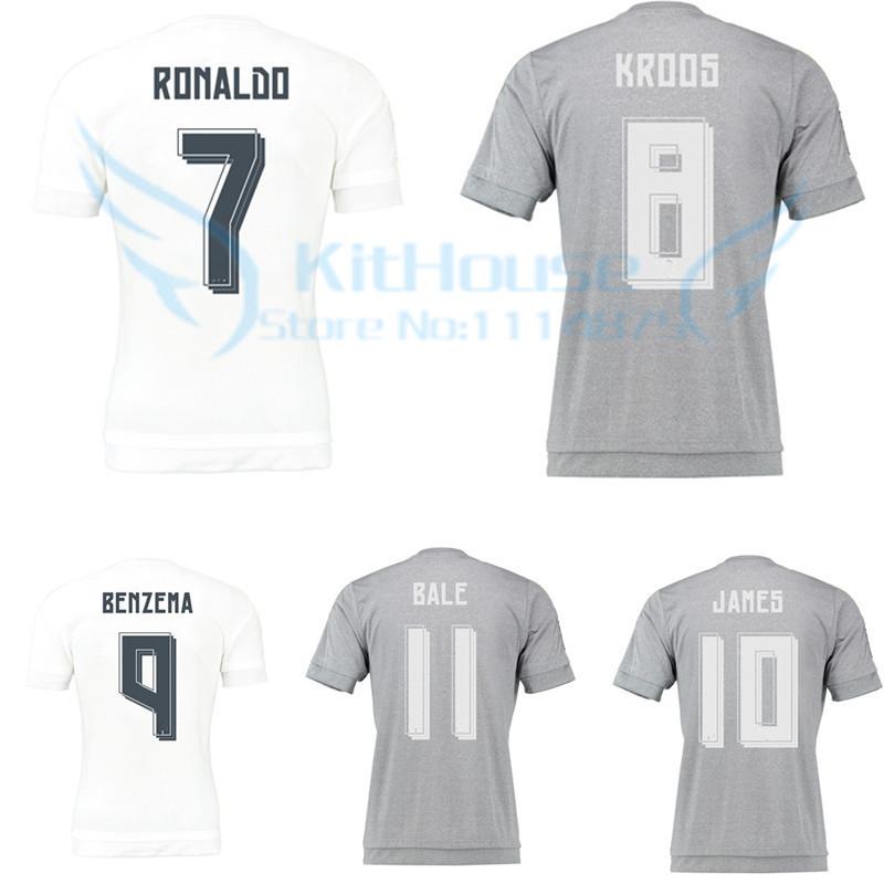Thai quality 15 16 La Liga soccer jersey JAMES RONALDO MODRIC white football shirt KROOS BALE gray uniforms 2016 XL XXL XXXL 4XL(China (Mainland))