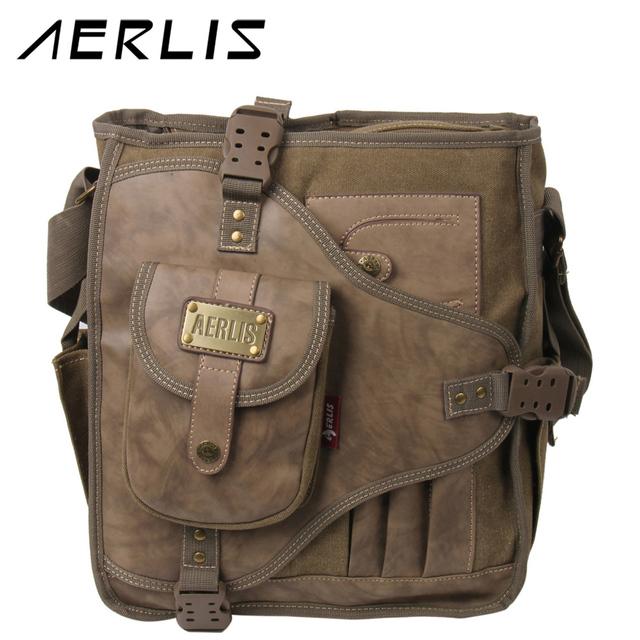 Borse Casual : Aerlis male canvas bag vintage shoulder bags for men