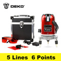DEKOPRO 5 Lines 6 Points Laser Level 360 Vertical Horizontal Rotary Cross Laser Line Leveling Can