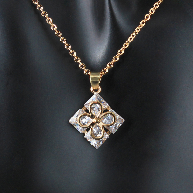 Fashion furious plate gold charm necklace accesories women 2015 zircon crystal square lobster clasp link chain pendant necklace(China (Mainland))