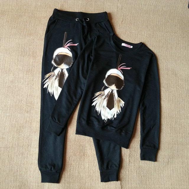 Autumn Winter 2015 Jogging Suits For Женщины Cute Cartoon Sport Suit Brand Tracksuit ...