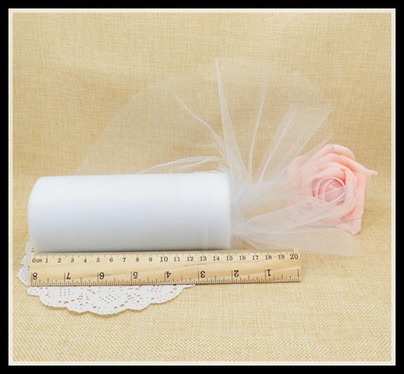 22mX15cm White Organza Sheer Gauze Element Yarn Roll Crystal Tulle Wedding Table Runner Decoration Rustic Wedding
