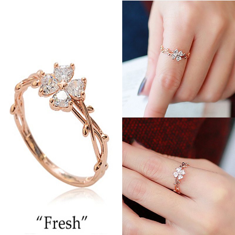 2015 New Fashion With Elegant Fair Maiden Temperament Clover Female Ring Ring 3 Colors Optional 925