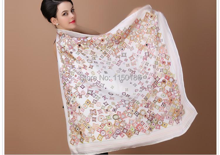 New arrival women's fashion style 100% silk scarf shawl spring autumn colors femalebrand donkey cape size 90cm ge quality scarf(China (Mainland))