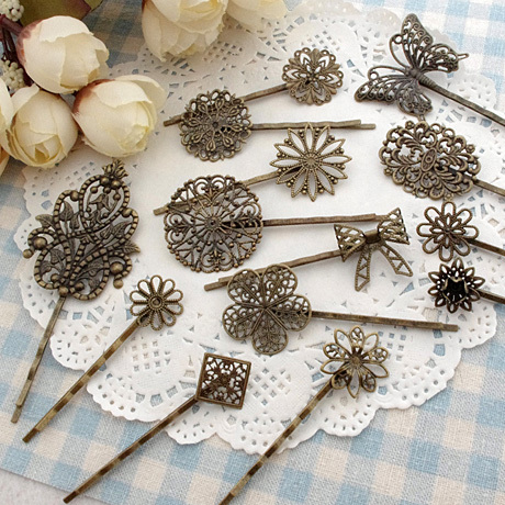 80pcs mixed Filigree Bobby Pin Blanks Antique copper color Flower Hair Pins Hair Clip perfect for resin cabochon glass domes(China (Mainland))