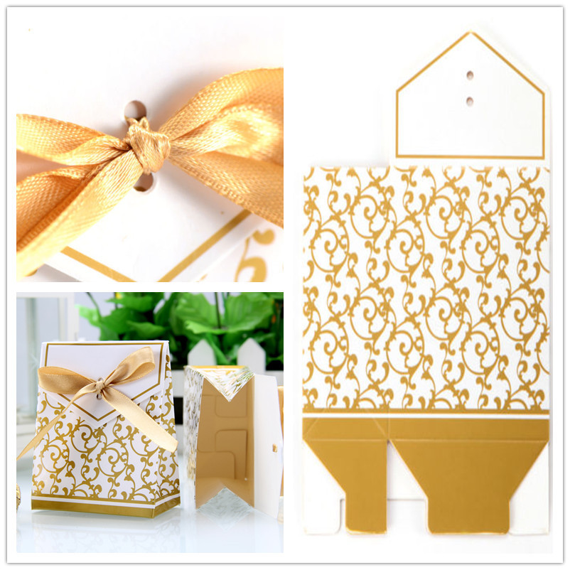 50 Pcs/Set Candy Boxes Wedding Festival Ribbon Gifts Bags Favor Party Golden HG0183 - Y Couple store