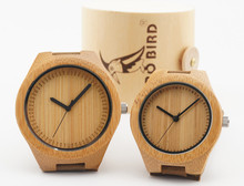 Lovers' Fashion Bamboo Wristwatch Handmade Wood Watches With Genuine Leather Band BoBo Bird Wooden Box Included
