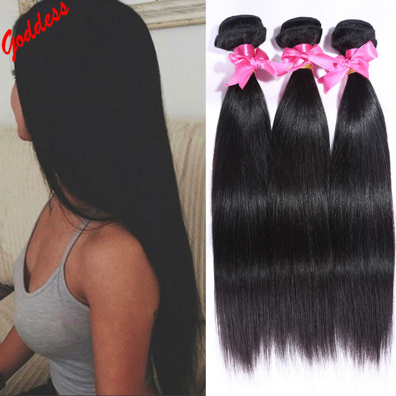 unprocessed virgin hair straight brazilian virgin hair straight 3pcs/lot  human hair extension natural black hair weave straight