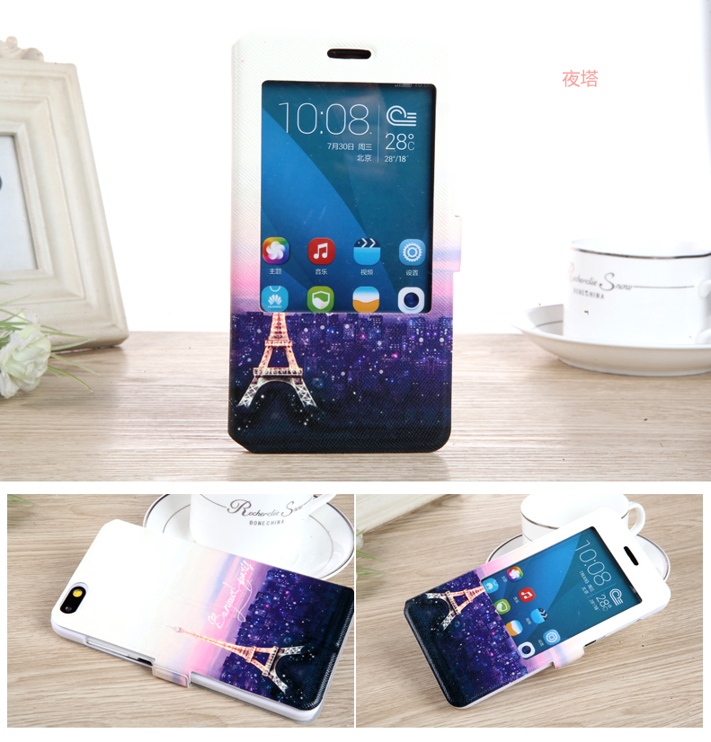 High Quality View Window Huawei Honor 4X Case Cartoon Flip PU Leather Stand Cover For Huawei Honor 4X Case Cover(China (Mainland))