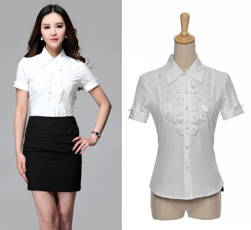 Unique White Blouses Women Shirts Long Sleeve Ladies Office Uniform Blouses