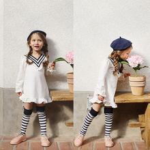 2-7Y Baby Girls Fancy Long Sleeve Autumn Dress Baby girl Cotton Navy style V collar dress Girls Autumn clothing F3