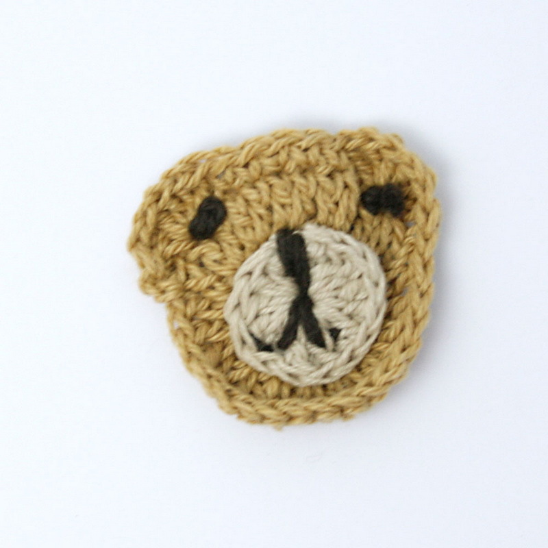 3pcs/bag 3.5cm Beige and Brown Color Animal Head handmade Patches Garment Accessories applique for you to DIY GFC057-02(China (Mainland))