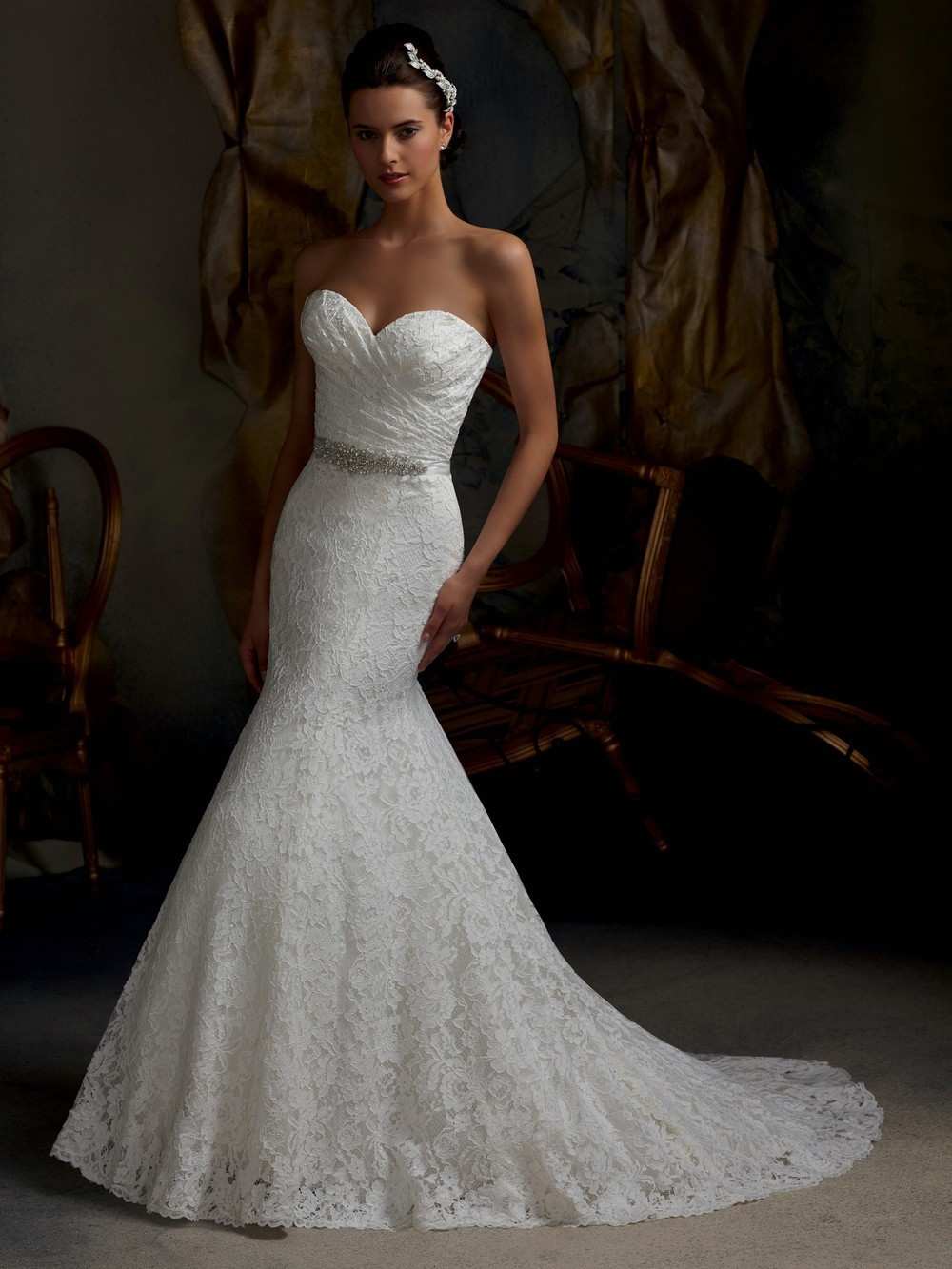 2013 Hot On Sale Custom Made Strapless Sweetheart Lace Bling Beading Front Split Mermaid Bridal Wedding Dress Wedding Gown