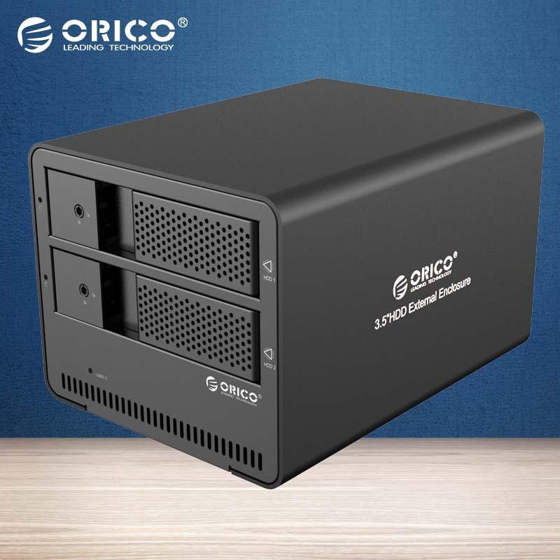 ORICO Tool free 2-bay USB3.0 Aluminum External 3.5 Inch SATA HDD case HDD Enclosure (9528U3-BK )(China (Mainland))
