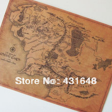 Hot Sell Vintage Style Lord of The Rings Map High Quality Kraft Paper Retro Map Poster 51*38cm Good gift for movie fans(China (Mainland))