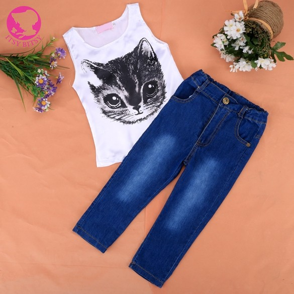 New Kids Girls Wear Cute Sleeveless Animal Print Vest Tops and Jeans Pants 2pcs Casual Outfit Sets(China (Mainland))