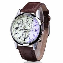 Essential 2016 New Fashion Brown Luxury Fashion Faux Leather Mens Ray Glass Analog Quartz WristWatch Bracelet Dress Watches
