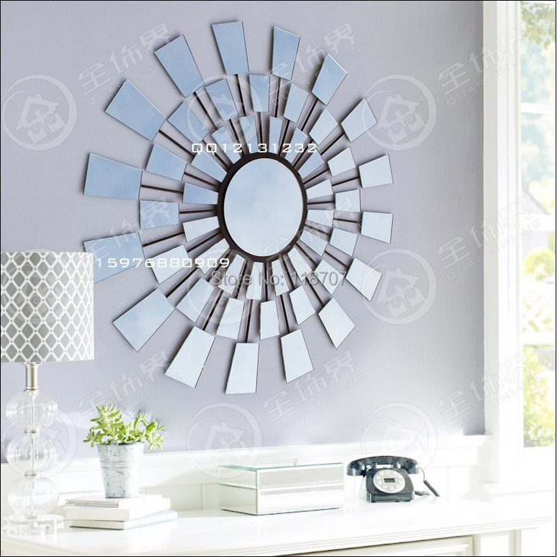 Metal glass sunburst wall art mirror decor in wall stickers from home garden on aliexpress - Wall decor mirror home accents ...