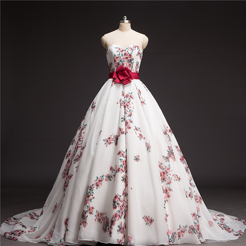 Ball gown floral printed wedding dress 2016 chapel train for Wedding dress made of flowers