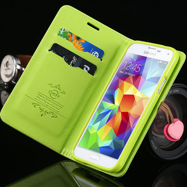 Green Cherry Series Luxury PU Leather Case for Samsung Galaxy s3 i9300 Wallet and Stand Function Cover THA03705(China (Mainland))