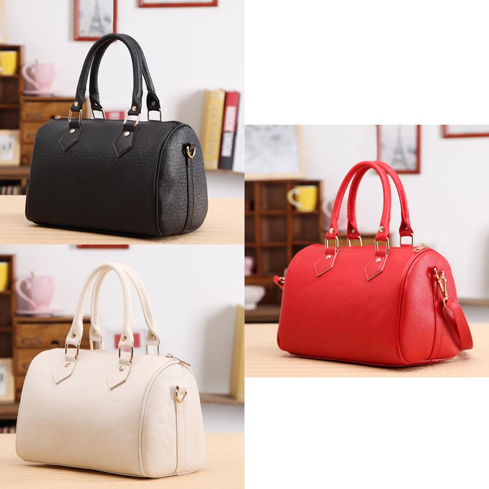 Free Shipping Women Lady Vintage Sweet Casual PU Leather Zip Elegant Handbag Crossbody Pillow Tote Bag White/Black/Red(China (Mainland))