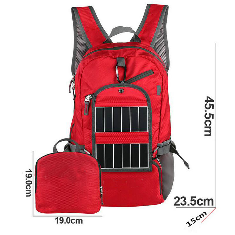 New 3.25W 6V Outdoor Sport Solar Backpack Foldable Light Weight Solar Panel Charger Bag for Traveling Hiking With Power Bank(China (Mainland))