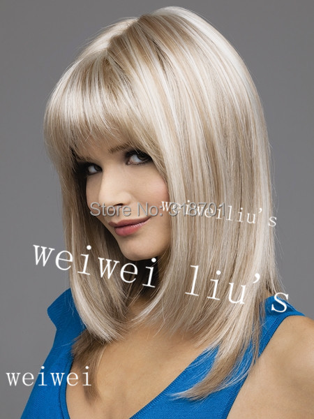 Medium Length Straight Synthetic Hair Wig with Bang Blonde mix color free shipping<br><br>Aliexpress