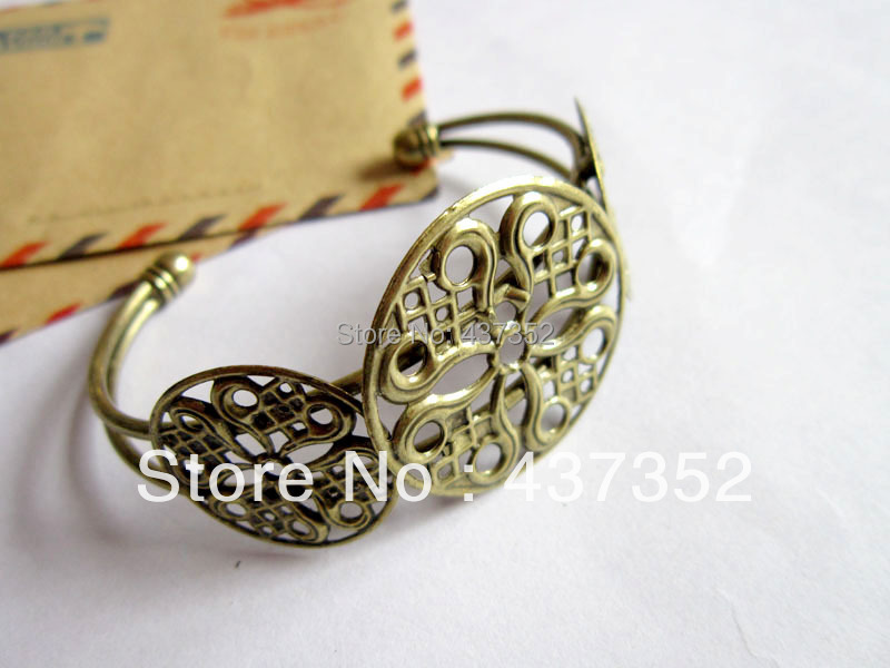 Free ship! 50piece Antique bronze Filigree Wrap Round Cuff Bracelet Blanks Cameo/Cabochon Settings<br><br>Aliexpress