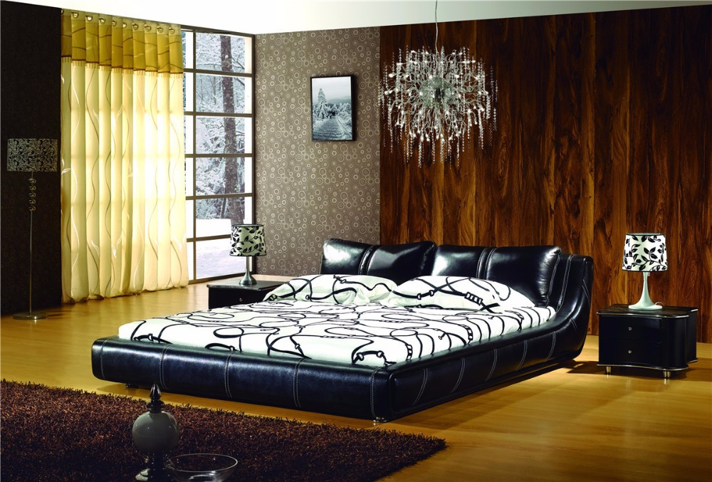 Black leather queen bed frame pu leather line beds bedroom furniture(China (Mainland))