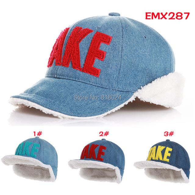 Дети зима шляпы 6 цветов! Деним ткань бархат уха шляпы унисекс мальчики и девочки тёплый зима шапка-ушанка для 2 - 6 T