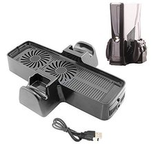 Super Usb Powered 3 in 1 Console Cooling Fan and Console Controller Stand for Microsoft Xbox 360 slilm, Black