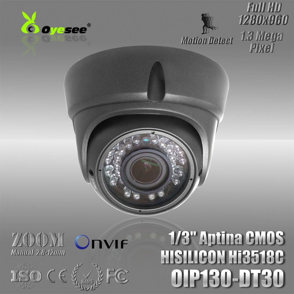 960P dome indoor Onvif ip camera 1.3 megapixel Manual Zoom Lens support ip camera app(China (Mainland))