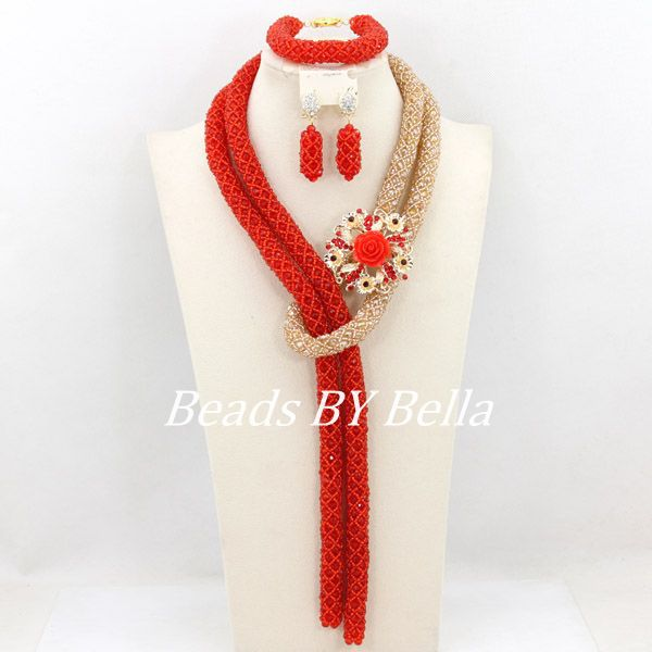 2015 Hot Wedding Bridal Jewelry Set Red Gold Crystal Beads African Lady Party Beads Jewelry Set Fashion New Free Shipping ABY131<br><br>Aliexpress