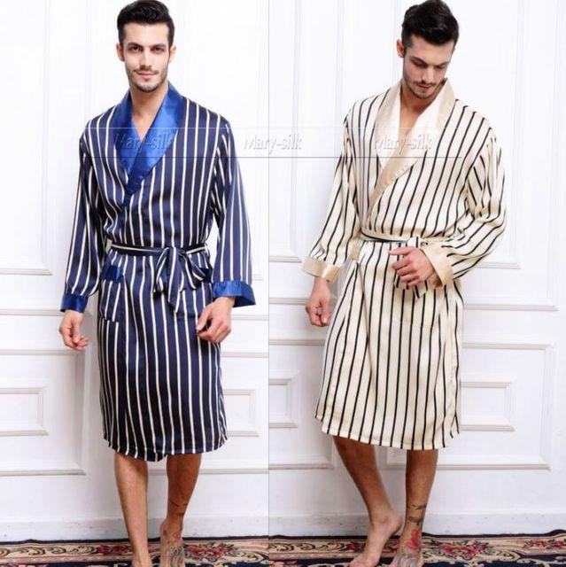Мужская Шелковый Атлас Пижамы Пижамы пижамы PJS Пижамы Халат Халаты Ночная Рубашка ...