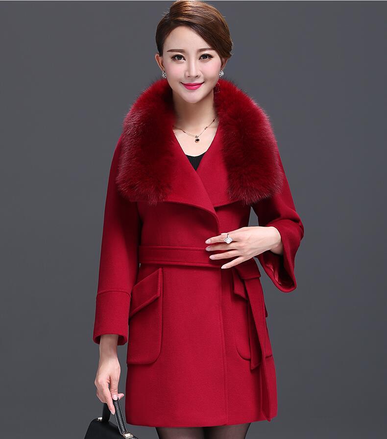 Desigual Fur Collar Winter Coat Women New 2015 Manteau Femme Plus Size Solid Long Wool Coats Belt Abrigos Mujer