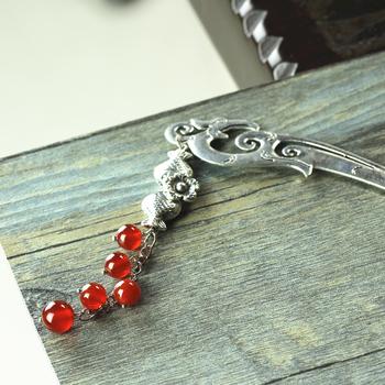 Natural agate miao silver tassel hair stick classical hair maker hair accessory 7001fz