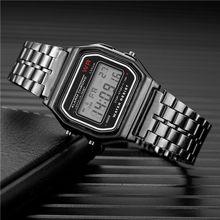 Femmes hommes unisexe montre or argent Vintage en acier inoxydable LED sport montres militaires montres électroniques numériques présentes(China)