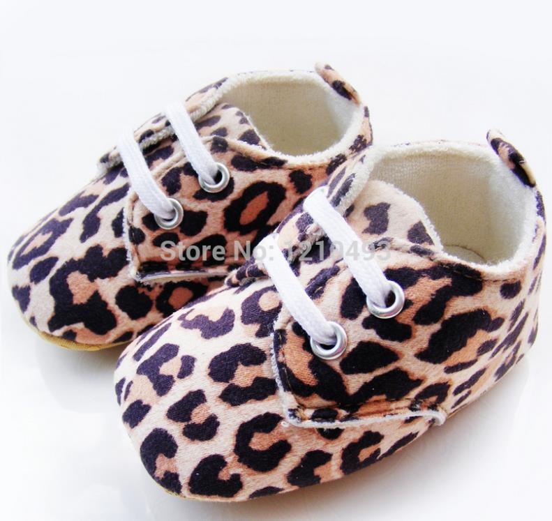 2014 Newborn Baby Prewalker Shoes Girls Flats Lace-up Non Slip Soft Outsole Leopard Print Baby Shoes Girls First Walker Shoes(China (Mainland))