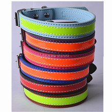 Latest Design Fashion Reflective PU Leather Dog Collars  Small Pet Products 6 Colors