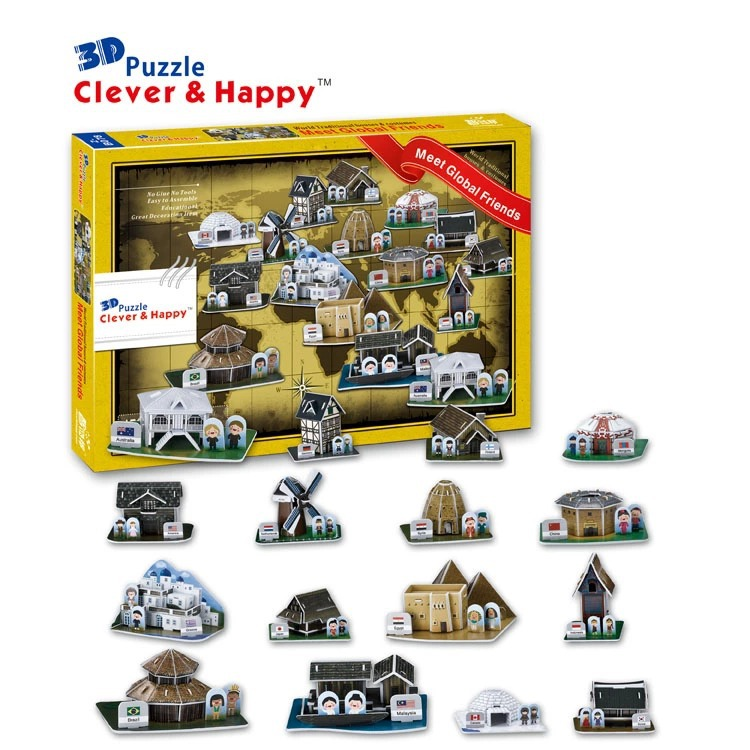 Top World famous buildings Jigsaw Model 3D Puzzle Features Houses DIY Xmas Gift Toys childrens day Learning Education - Fashion Shop 7 store