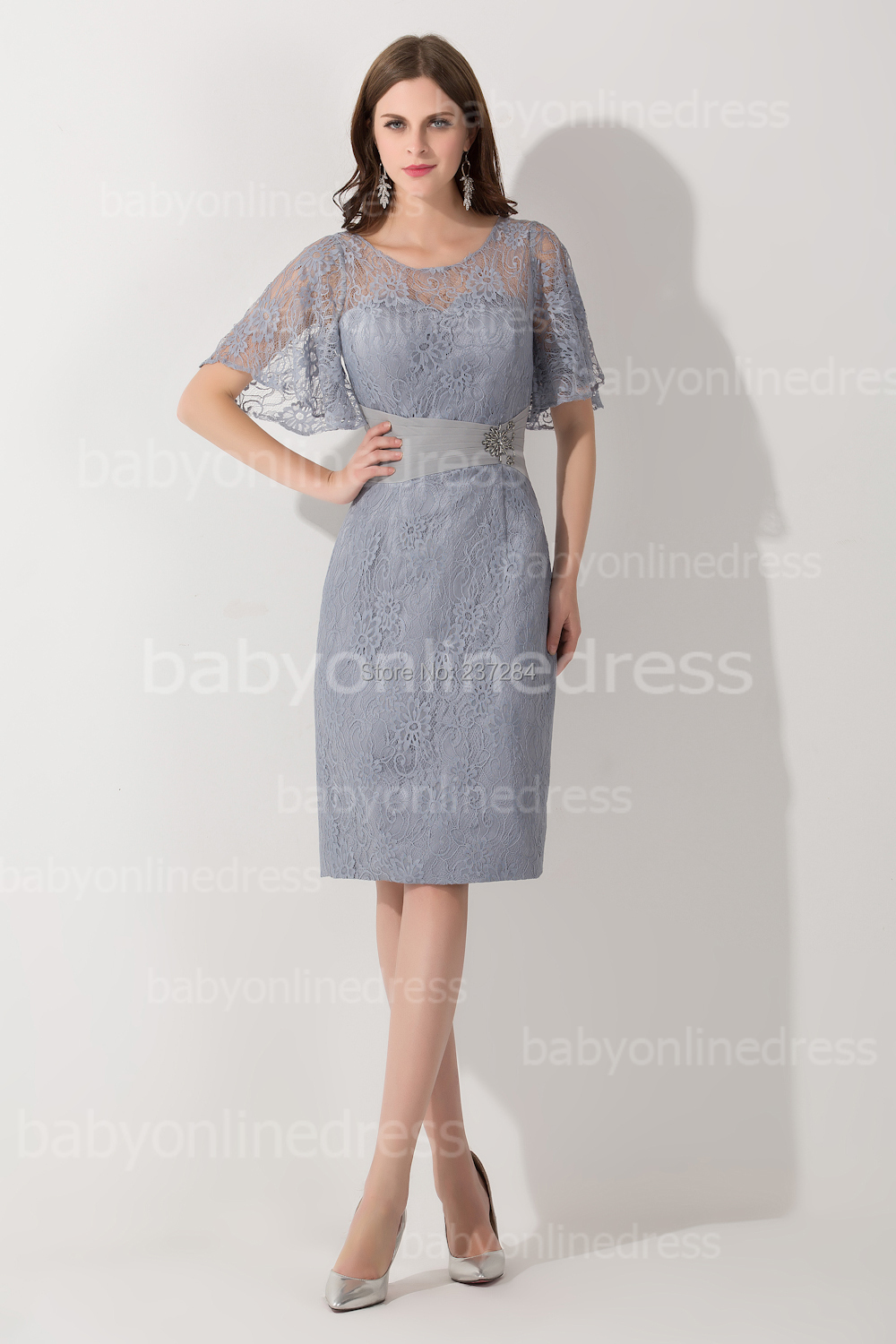 Mother of the bride lace dresses knee length bridesmaid for Grey dresses for a wedding