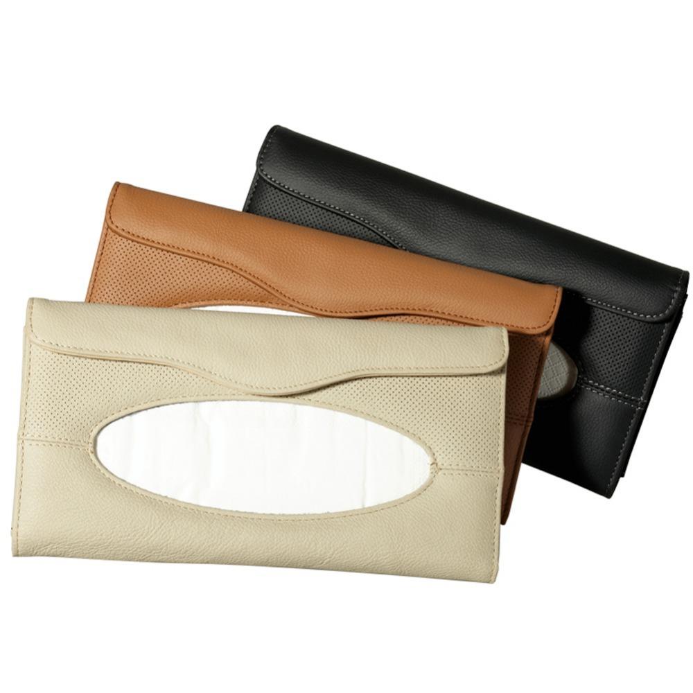 YBB Auto Car Tissue box Sun Visor Napkin Holder Soft Genuine Leather Paper Box High Quality Napkin Clip(China (Mainland))