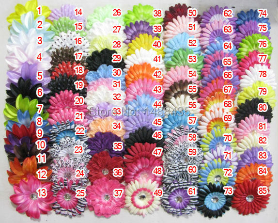 85pcs/lot 85 color Free Shipping 2014 New Style Gerbera baby girl Daisy peony lily zebra flower clip,children kid's accessories(China (Mainland))