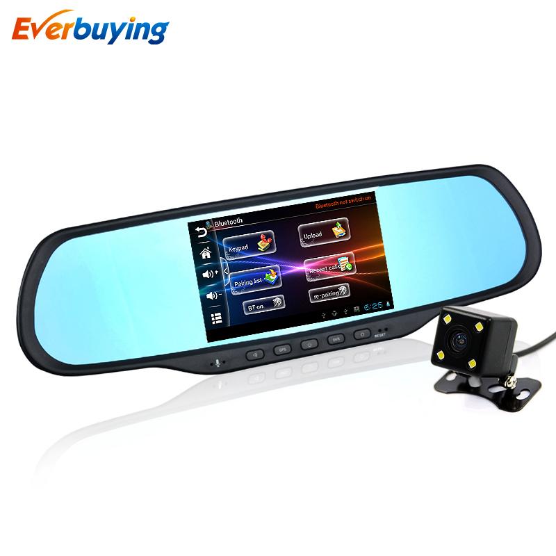 5-дюймовый Android зеркало заднего вида полный HD 1080p Автомобильный видеорегистратор Даул камера GPS-навигация Bluetooth беспроводной FM радио 1 ГБ оперативной памяти встроенный 8 Гб карта бесплатно