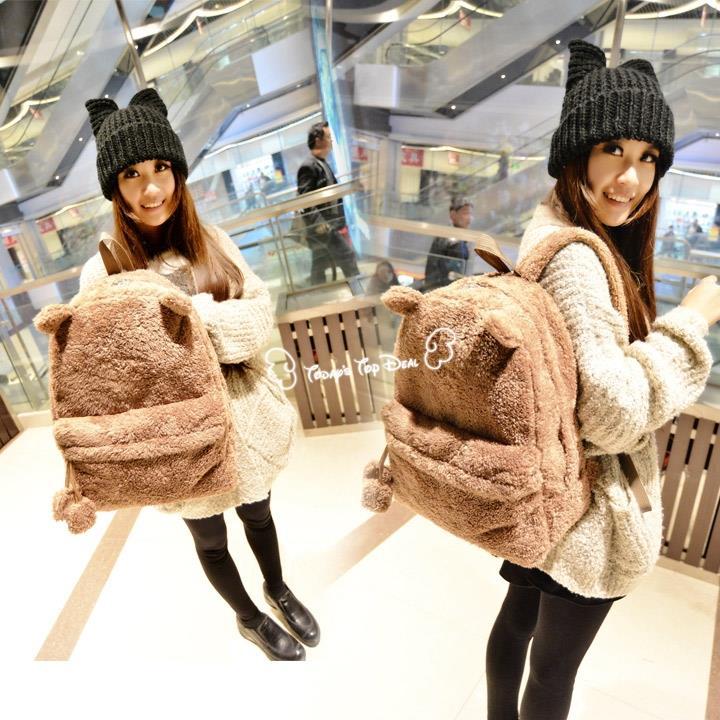 Cute Women Style Panda School Bags Backpack Plush Bag College Campus Book Bear Backpack sac a dos zaino(China (Mainland))