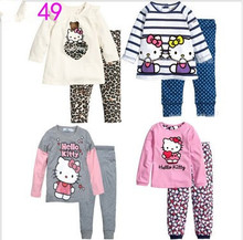 2014 Hello Kitty Children Baby Boys Girls Kids Clothing New  wint Clothes Sets suits 2 pcs sleepwear cartoon long sleeve pajamas