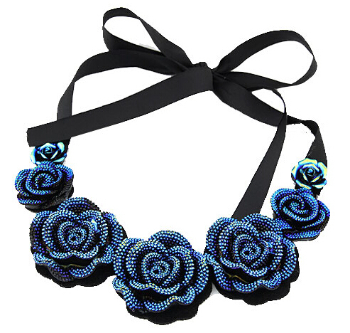 Quality cheap jewelry Fashion handmade blue crystal rose luxury rope choker necklace $15 order - PY Jewelry Co.,Ltd (Mini Order store)